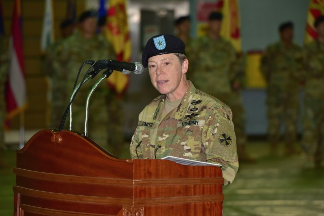 Eighth Army Deputy Commanding General for Sustainment Brig. Gen. Tammy Smith addresses attendees during a Patch Ceremony July 7 at U.S. Army Garrison Yongsan in Seoul.