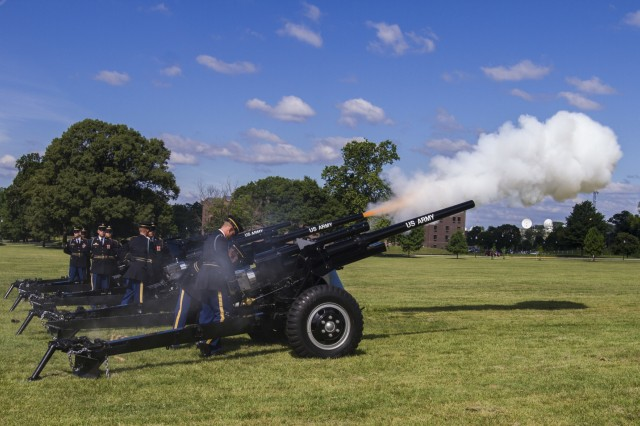 The 3rd U.S. Infantry Salute Guns Platoon renders a volley salute with four World War II-era anti-tank guns during the 200th Military Police Command's relinquishment of command ceremony at the McGlachlin Parade Field, at Fort Meade, Md., July 10, 2016.  Lieutenant General Charles D. Luckey, chief of the Army Reserve and commanding general of the United States Army Reserve Command, was the reviewing official for the ceremony, in which Maj. Gen. Phillip M. Churn relinquished command to Brig. Gen. Marion Garcia. (U.S. Army photo by Spc. Stephanie Ramirez)