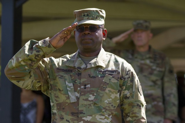Maj. Gen. Phillip M. Churn, the commanding general for the 200th Military Police Command, renders a salute during his relinquishment of command ceremony at the McGlachlin Parade Field, on Fort Meade, Md., July 10,2016.  Approximately 200 Soldiers from the command's subordinate units attended the ceremony and Lieutenant General Charles D. Luckey, chief of the Army Reserve and commanding general of the United States Army Reserve Command, was the reviewing official. (U.S. Army Photo by Sgt. Audrey Hayes)