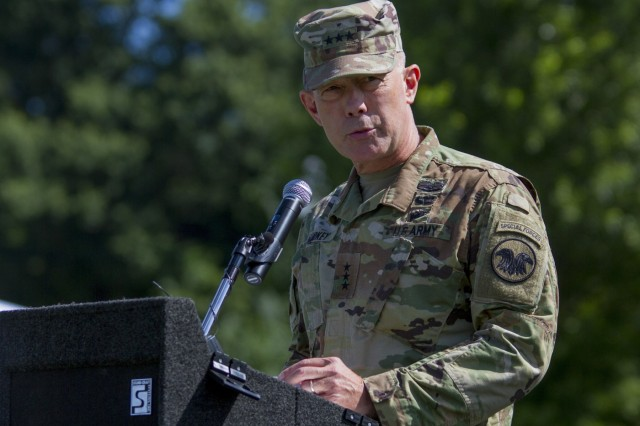 Lieutenant General Charles. D Luckey, chief of the Army Reserve and commanding general of the United States Army Reserve Command, gives a speech at Maj. Gen. Phillip M. Churn's relinquishment of command ceremony at the McGlachlin Parade Field, on Fort Meade, Md., July 10, 2016.  Approximately 200 Soldiers from the command's subordinate units attended the ceremony.  (U.S. Army photo by Sgt. Audrey Hayes)
