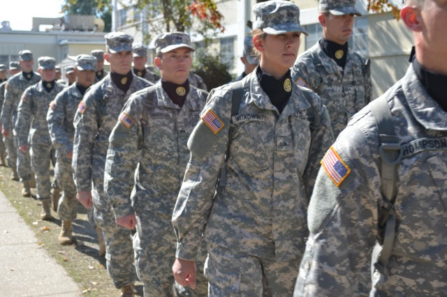 Delta Company Soldiers at Officer Candidate School march to the field to begin their missions, at Fort Benning, Georgia.