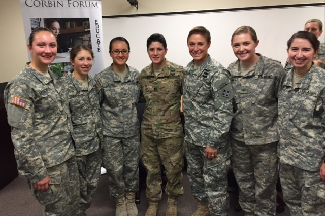 Cadet Emma Spell (second from right), stands with other USMA cadets and Capt. Kristen Griest and 1st Lt. Shaye Haver (center left and center right), following a briefing at the United States Military Academy at West Point, New York, last fall. Capt. Griest and 1st Lt. Haver were the first female graduates of the U.S. Army's Ranger School.
