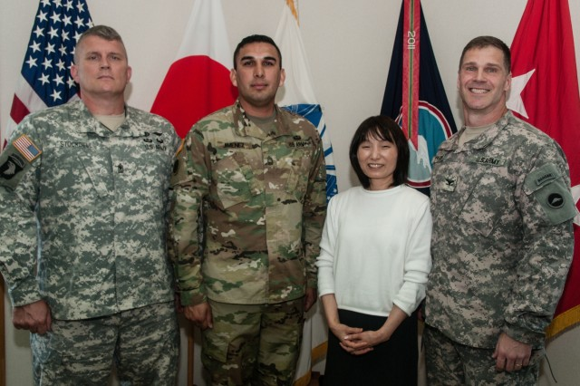 Army Master Sgt. Elizandro Jimenez (second from left), an El Paso, Texas, native serving as the assistant inspector general, U.S. Army Japan (USARJ), stands with his fellow USARJ Inspector General (IG) Office team members minutes after he was sworn in as USARJ's newest assistant inspector general July 7, 2016, at USARJ headquarters in Camp Zama, Japan. Jimenez is the first Soldier in U.S. Army history to enter the IG ranks from the U.S. Army Chemical Corps. His three-year tour will encompass the Army's vast and versatile presence in Okinawa, where he will be responsible for approximately 1,600 Soldiers with upholding the Army's standards, rules and regulations... (U.S. Army photo by Sgt. John L. Carkeet IV, U.S. Army Japan)