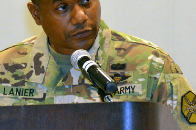 Col. Tracy Lanier, U.S. Army Garrison Fort Leonard Wood commander addresses the crowd following assuming command July 12 at Nutter Field House.