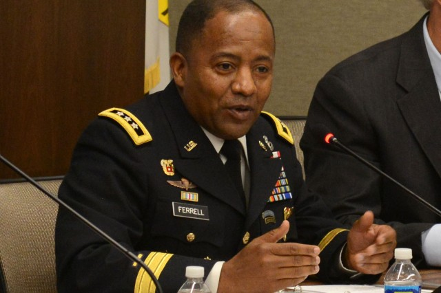 "Lt. Gen. Robert S. Ferrell, the Army's chief information officer/G-6, speaks at a ""Network Readiness in a Complex World"" panel, hosted by the Association of the United States Army, July 14, 2016, in Arlington, Virginia., about a hybrid-cloud pilot program at Redstone Arsenal, Alabama."