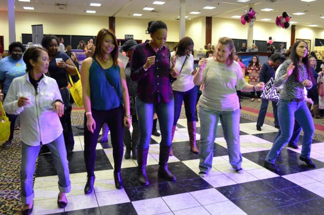 Ladies take to the dance floor and show their moves during Girls Night Out at The Landing's ballroom in February.