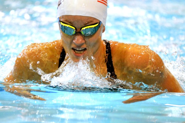 Army World Class Athlete Program Paralympic swimmer Sgt. Elizabeth Marks finishes third in a multi-class heat of the 200-meter individual medley with a time of two minutes, 56.83 seconds during preliminaries of the 2016 Paralympic Swimming Team Trials on July 2 at Mecklenburg County Aquatic Center in Charlotte, North Carolina.