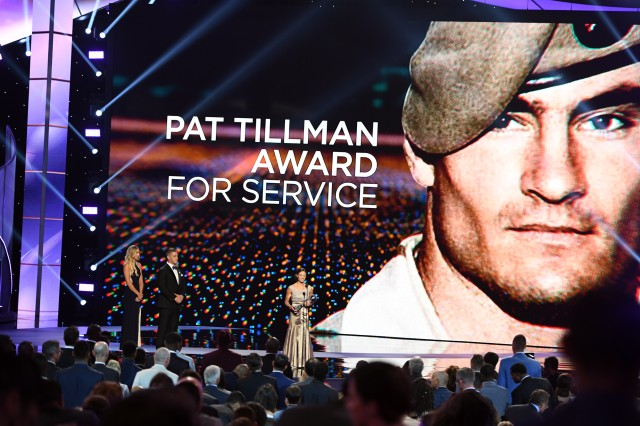 Paralympic swimmer Sgt. Elizabeth Marks of the U.S. Army World Class Athlete Program delivers her acceptance speech after receiving the Pat Tillman Award at The ESPYS on July 13 at Microsoft Theater in Los Angeles.