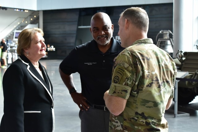Col. Gregory B. Beaudoin, commander of 3rd Brigade Combat Team, 82nd Airborne Division, meets with New Orleans, La. Councilmembers Susan G. Guidry (District A) and James A. Gray II (District E), during the brigade's leadership professional development event.