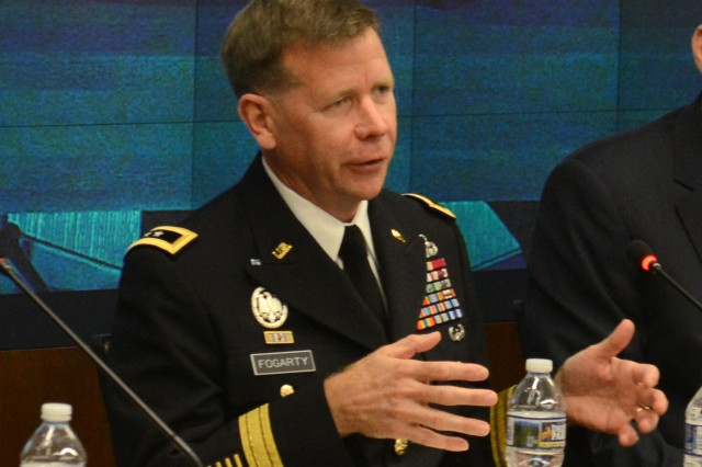 "Maj. Gen. Stephen Fogarty, commander, U.S. Army Cyber Center of Excellence and Fort Gordon, Georgia, speaks, July 14, 2016 at the ""Network Readiness in a Complex World"" panel hosted by the Association of the United States Army at AUSA headquarters in Arlington, Va."
