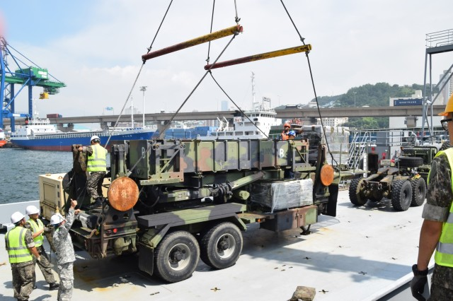 A Patriot missile launching system onboard the US Army Vessel Harpers Ferry is ready for liftoff at the Port of Busan, South Korea, July 13. 35th ADA Brigade, in coordination with 19th ESC, conducted port operations to receive and integrate B Battery, 1-1 ADA Battalion equipment and personnel with 2-1 ADA Battalion at Kunsan Air Base.