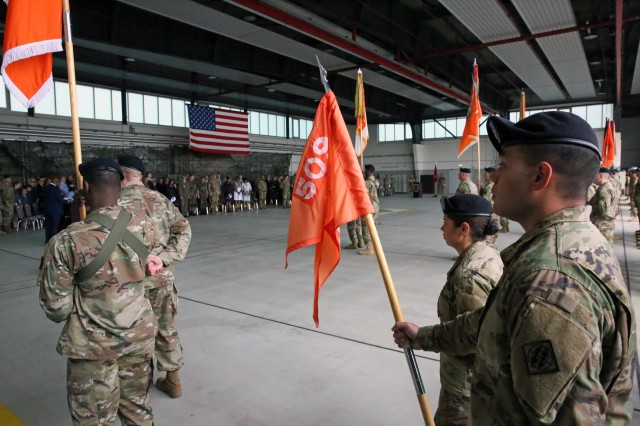 Soldiers from 2nd Signal Brigade stand in formation during the 5th Signal Command (Theater) change of command ceremony July 15, 2016 in Wiesbaden, Germany.