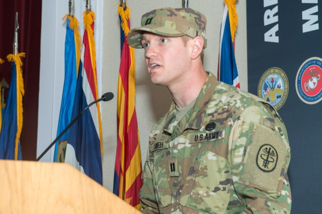 Capt. Ryan Lindell addresses the crowd during APHC (P)'s HHC Change of Command Ceremony May 16.