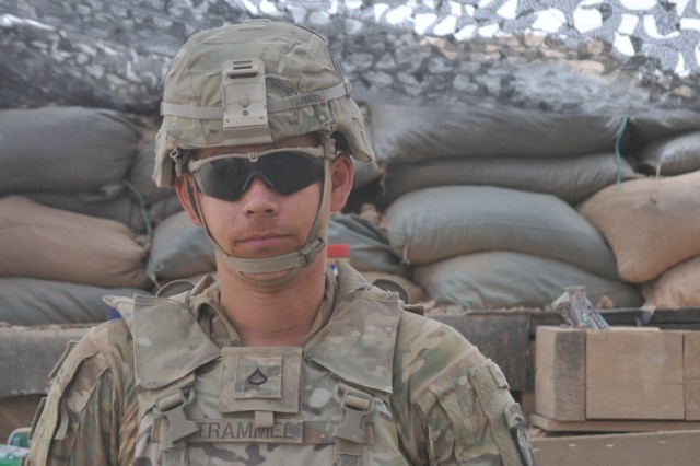 Pfc. Tristan Trammel with with Battery C, 1st Battalion, 320th Field Artillery Regiment, Task Force Strike, June 18th, 2016, in Kara Soar Base Iraq. Trammel was motivated to join the United States Army field artillery after viewing videos online of executions conducted by the Islamic State group.