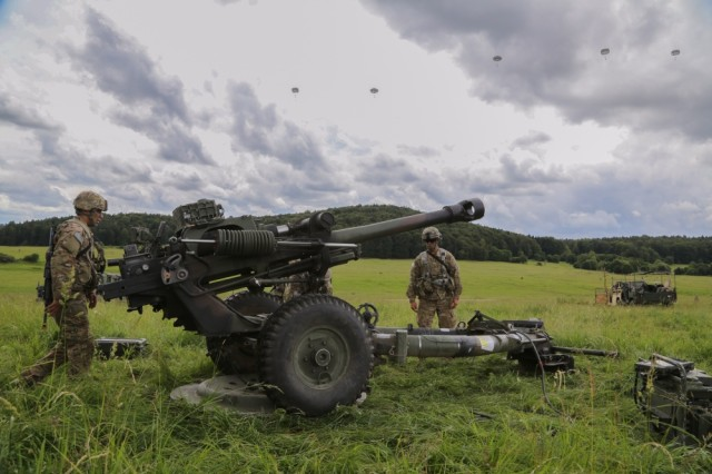 Throughout the last year, Picatinny engineers have been re-designing the recoil system on the M119A3 Howitzer to make it safer, simpler and more reliable. Above, Soldiers of the 3rd Battalion, 319th Airborne Field Artillery Regiment, perform a function test on a M119A3 Howitzer during a readiness training exercise on June 15 at the Hohenfels Training Area in Germany.