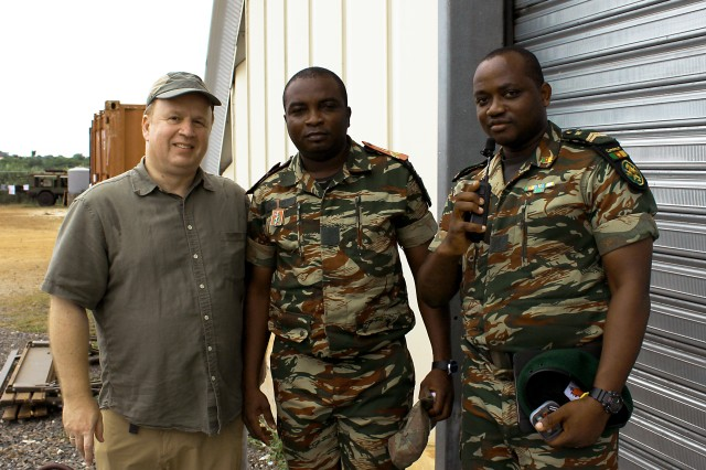 Dr. Boyan Onyshkevych, a program manager for human-language technology research programs at the Defense Advanced Research Projects Agency, with Cameroon soldiers at Central Accord 16 in Libreville, Gabon.