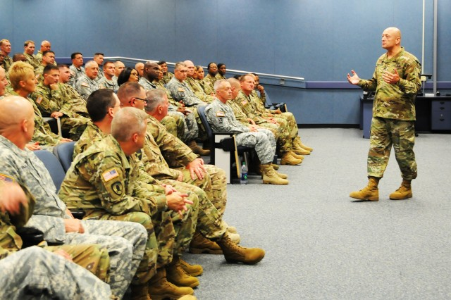 Maj. Gen. Anthony C. Funkhouser, Center for Initial Military Training commanding general, speaks to senior warrant officers at the Warrant Officer Career College at Fort Rucker during a visit July 14.