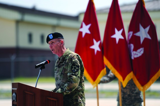 Maj. Gen. Theodore D. Martin, commanding general, 2nd Infantry Division, was the featured speaker at the uncasing ceremony for 2nd Battalion 8th Cavalry at Camp Humphreys. Martin praised the Cavalry troopers for their hard work and dedication throughout the move from Camp Casey.