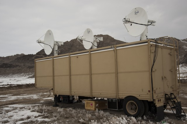 A mobile telemetry van at a live-fire test event.