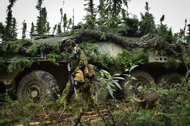 Canadian Army Maj. Chelsea Anne Braybrook, commander of Bravo Company, 1st Battalion, Princess Patricia's Canadian Light Infantry, walks past her Coyote Armoured Vehicle in Donnelly Training Area near Ft. Greely, Alaska, during the Arctic Anvil exercise, Sunday, July 24, 2016. Arctic Anvil is a joint, multinational exercise which includes forces from USARAK's 1st Stryker Brigade Combat Team, 25th Infantry Division and UATF, along with forces from the 196th Infantry Brigade's Joint Pacific Multinational Readiness Capability, the Iowa National Guard's 133rd Infantry Regiment and the 1st Battalion, Princess Patricia's Canadian Light Infantry.