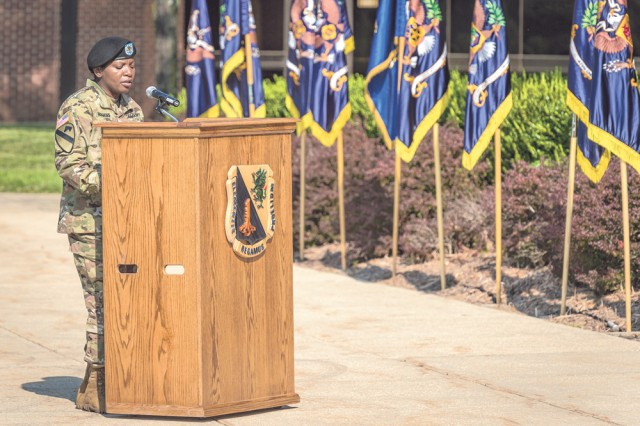 Command Sgt. Maj. Henney Hodgkins addresses the audience following her appointment as 14th U.S. Army Chemical, Biological, Radiological and Nuclear School regimental command sergeant major