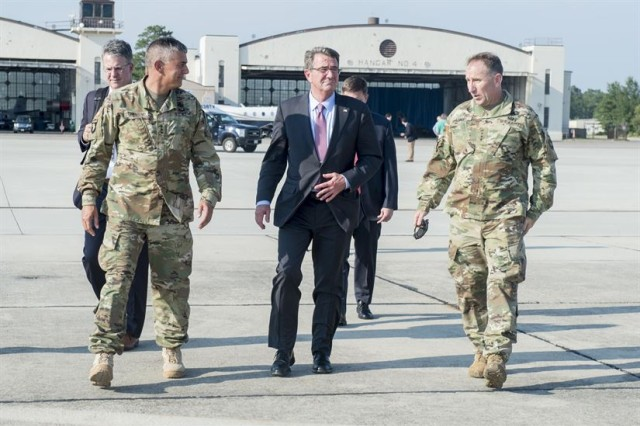 WASHINGTON, July 27, 2016 -- Defense Secretary Ash Carter today told troops readying to deploy to Iraq that they must build on the momentum to defeat the Islamic State of Iraq and the Levant.