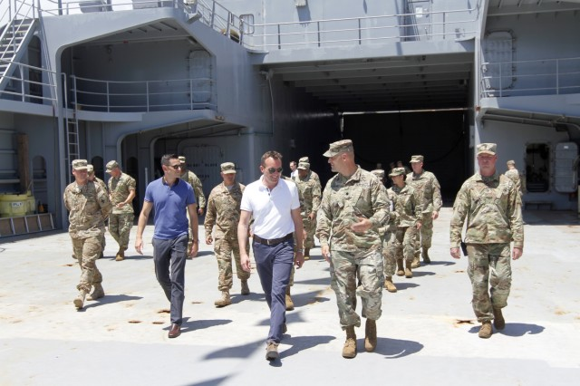 Eric K. Fanning, Secretary of the Army, meets with the crew of the 545thTransportation Company, 8th Theater Sustainment Command's Logistics Support Vessel-2, the CW3 Harold C. Clinger, July 27 at Joint Base Pearl Harbor-Hickam, Hawaii.