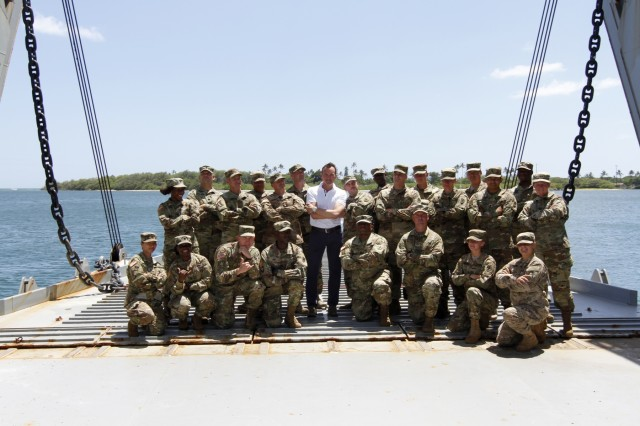 Eric K. Fanning, Secretary of the Army, meets with the crew of the 545thTransportation Company, 8th Theater Sustainment Command's Logistics Support Vessel-2, the CW3 Harold C. Clinger, July 27, at Joint Base Pearl Harbor-Hickam, Hawaii.