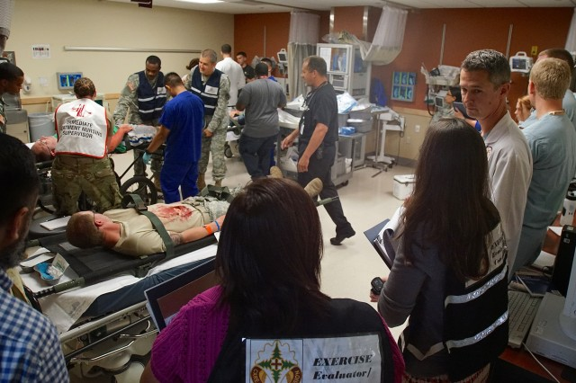Madigan Army Medical Center personnel tend to the injured during the mass casualty portion of exercise Cascade Helix July 26, 2016.