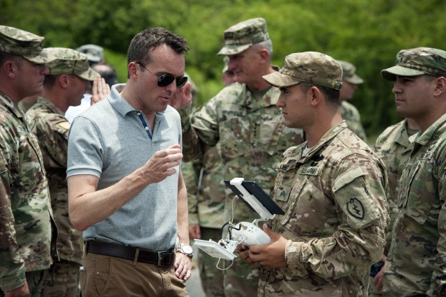Secretary of the Army Eric Fanning visits U.S. Army Pacific Soldiers of the 25th Infantry Division during the Pacific Manned Unmanned -- Initiative July 26, 2016, at Marine Corps Training Area Bellows, Hawaii. PACMAN-I provided an opportunity for Soldiers, partnered with organizations and agencies such as the Maneuver Center of Excellence and the U.S. Army Tank Automotive Research Development and Engineering Center, to test new technology in the field during practical exercises.