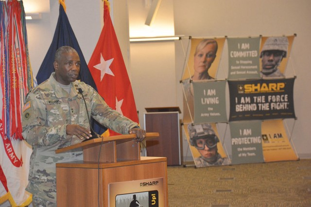 Maj. Gen. Darrell K. Williams, U.S. Army Combined Arms Support Command and Fort Lee commanding general, gives his opening remarks at he second annual CASCOM and Fort Lee Sexual Harassment/Assault Response and Prevention Summit held July 26 at the Army Logistics University.