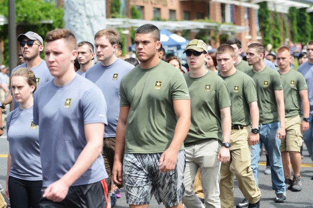 """About 70 """"future Soldiers"""" participated in a parade, June 14, 2016, in Philadelphia, Pennsylvania. Shortly after, they were sworn into the Army by Brig. Gen. Charles R. Hamilton, commander of Defense Logistics Agency Troop Support, furthering their transition from civilian to Soldier. This year, for the first time in half a decade, Army Recruiting Command will meet its recruiting goals for both the Regular Army and the Army Reserve. The Regular Army expects to enlist 62,500 new Soldiers, while the Army Reserve expects to enlist 15,400."""