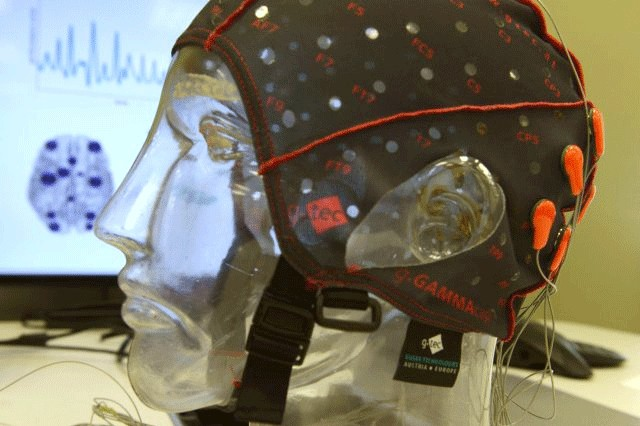 EEG sensors and cap used to monitor test subjects' brain wave patterns is shown mocked up, with brain wave patterns in the background. This was during media day at Army Research Laboratory, Aberdeen Proving Ground, Md., July 28, 2016.