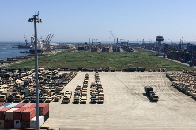 3rd Battalion, 116th Cavalry Brigade Combat Team equipment is offloaded from a vessel at the Port of Constanta, Romania for transport to Cincu, Romania for Exercise Saber Guardian 2016. Saber Guardian 2016 is a multinational military exercise involving approximately 2,800 military personnel from ten nations including Armenia, Azerbaijan, Bulgaria, Canada, Georgia, Moldova, Poland, Romania, Ukraine and the U.S. The objectives of this exercise are to build multinational, regional and joint partnership capacity by enhancing military relationships, exchanging professional experiences, and improving interoperability between the land forces from the participating countries. (U.S. Army Photo by Chief Warrant Officer 2 Steven Howell, 116th Cavalry Brigade Combat Team)