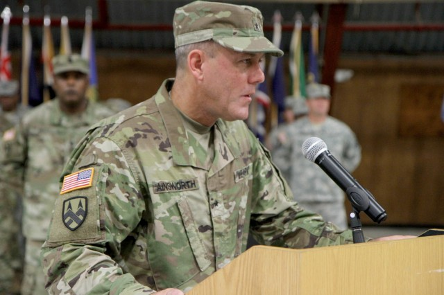 Brig. Gen. Steven W. Ainsworth, outgoing commander of the 94th Training Command (Force Sustainment), bids farewell to the 94th in his final remarks to the division during a change of command ceremony in Dodge Hall at Fort Lee, Va. on July 23, 2016.  Incoming commander Brig. Gen. Hector Lopez also spoke after officially taking command. The 94th provides world class training in the career management fields of Ordnance, Transportation, Quartermaster, and Human Resources, ensuring all service members are properly trained, fed, supplied, and maintained.