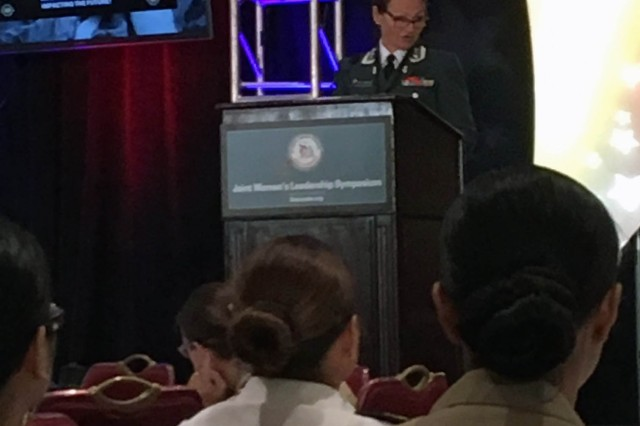 Col. Hilde Solheim of the Norwegian Army speaks at the Joint Women's Leadership Symposium, June 14, 2016, in Chrystal City, Virginia.