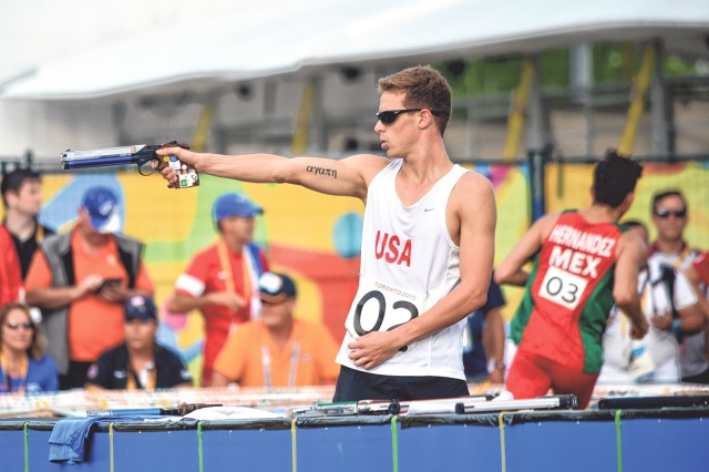 Nathan Schrimsher of the Army World Class Athlete Program earns a berth in the 2016 Olympic Games with a third-place finish in the men's Modern pentathlon event at the 2015 Pan American Games in Toronto.