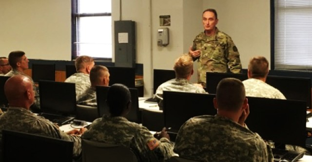 TRADOC senior NCO meets with 80th Training Command students attending leadership courses