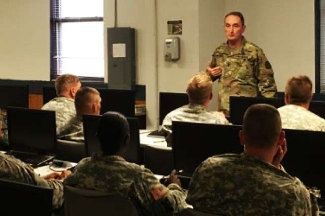 Command Sgt. Maj. Dave Davenport, the U.S. Army Training and Doctrine Command, senior enlisted leader, addresses students enrolled the 80th Training Command's Transportation Senior Leader and Advance Leader courses at Fort Eustis, Va., Aug. 4, 2016.