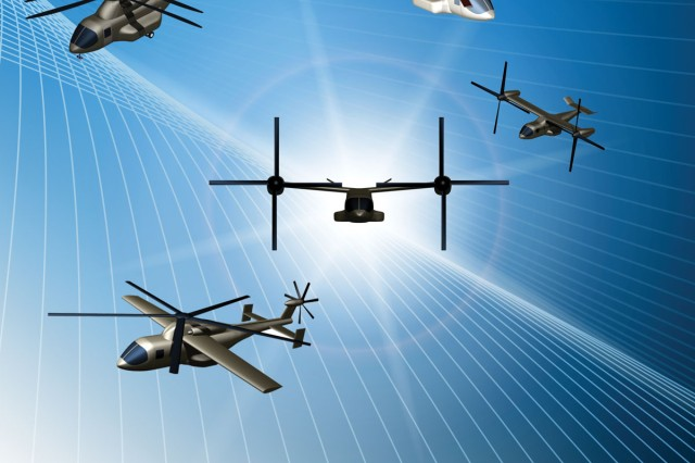 FVL is meant to develop replacements for the Army's UH-60 Black Hawk, AH-64 Apache, CH-47 Chinook and OH-58 Kiowa helicopters. Four different sizes of aircraft are to be developed and will share common hardware such as sensors, avionics, engines and countermeasures. Each class of aircraft will have the potential for service-unique or mission-specific variants. (Image courtesy of PEO Aviation)