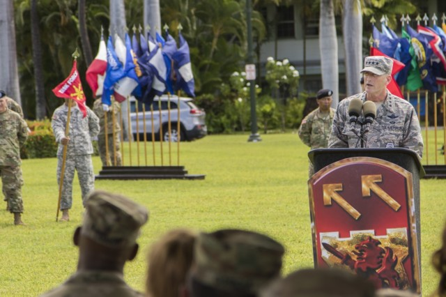JOINT BASE PEARL HARBOR-HICKAM, Hawaii-U.S. Air Force Gen. Terrance O'Shaughnessy, the Pacific Air Forces commander, addresses attendees to Brig. Gen. Eric L. Sanchez and Brig. Gen. Sean A. Gainey's, the outgoing and incoming 94th Army Air and Missile Defense, at the change of command ceremony, Aug. 5, 22016, historic Palm Circle lawn at Fort Shafter, Hawaii. (U.S. Army photo by Sgt. Kimberly K. Menzies, 94th Army Air and Missile Defense Command Public Affairs)