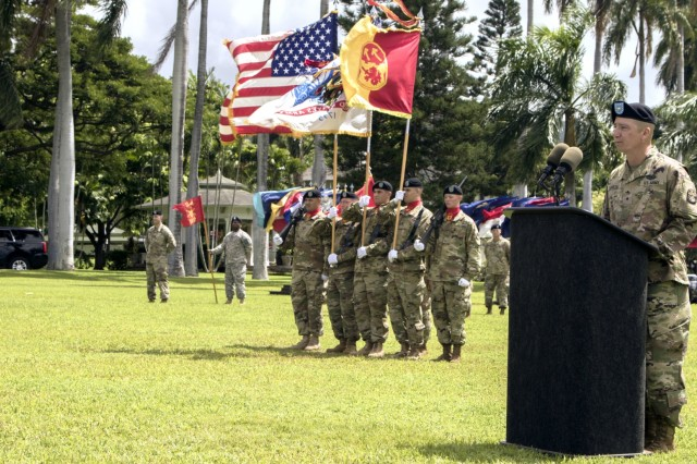 JOINT BASE PEARL HARBOR-HICKAM, Hawaii-U.S. Army Brig. Gen. Eric L. Sanchez, commander of the 94th Army Air and Missile Defense, thanks his wife Teresa for her seamless dedication and support to his career during a change of command ceremony on historic Palm Circle at Fort Shafter, Hawaii. (U.S. Army photo by Sgt. Kimberly K. Menzies, 94th Army Air and Missile Defense Command Public Affairs)