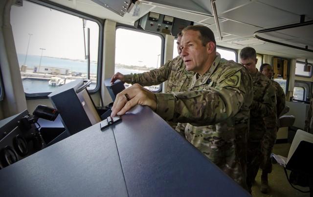 CENTCOM's top logistics officer tours APS-5 watercraft set, touts strategic advantage