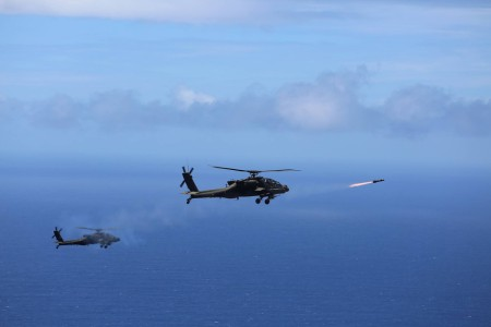 "Two U.S. Army AH-64D Apache attack helicopters assigned to the 2-6 Cavalry Squadron, 25th Combat Aviation Brigade, launched eight ""fire and forget"" AGM-114L Hellfire Air to Surface Missiles during a training exercise off the coast of Oahu as part of the Rim of the Pacific 2016. Exercise participants boosted their proficiency in tactics, targeting and live firing during a sinking exercise with the decommissioned Pearl Harbor frigate USS Crommelin, July 19, 2016."