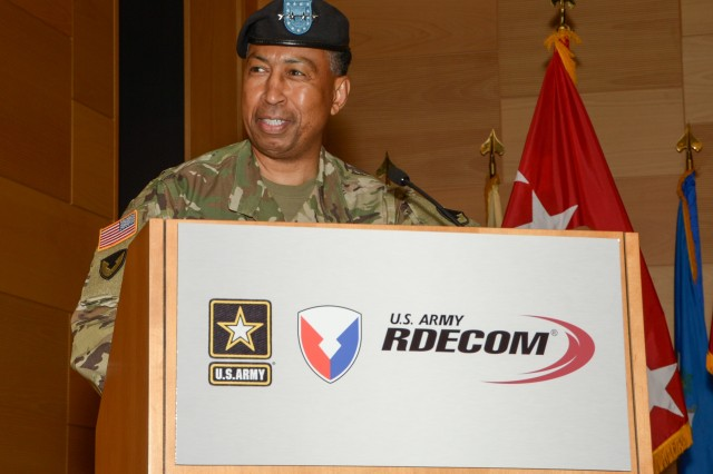 Gen. Dennis L. Via speaks during the U.S. Army Research, Development and Engineering Command change-of-command ceremony Aug. 9, 2016, at Aberdeen Proving Ground, Maryland.