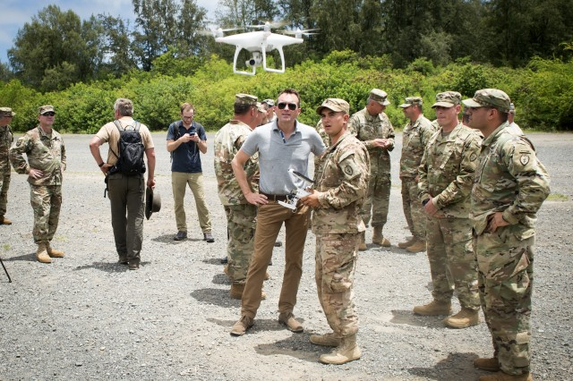 Secretary of the Army Eric Fanning visits U.S. Army Pacific Soldiers of the 25th Infantry Division during the Pacific Manned Unmanned, July 26, 2016, at Marine Corps Training Area Bellows, Hawaii.