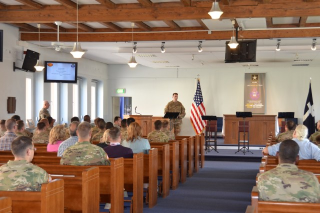 Col. Benjamin C. Jones, USAG Ansbach garrison commander, speaks to the audience during the ceremony for the Chaplain Corps Anniversary Aug. 11, 2016 (U.S. Army photo: Bianca Sowders)
