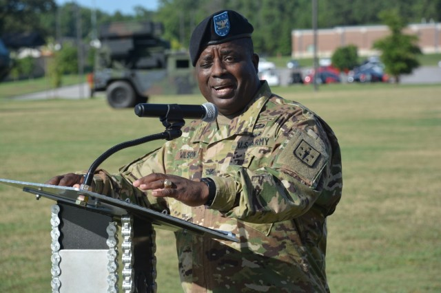 Col. David Wilson, the new Chief of Ordnance, addresses the audience during the Ordnance Corps assumption of command ceremony Aug. 10 at Whittington Parade Field.