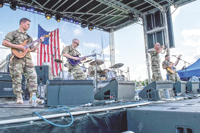 The 399th Army Band, Roughriders, will perform with Cole Swindell at the free USO concert Aug 21.