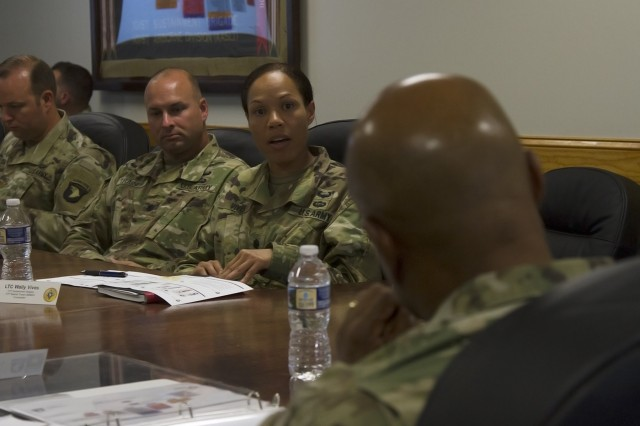 Lt. Col. Wally Vives-Ocasio, commander for the 101st Special Troops Battalion, 101st Airborne Division Sustainment Brigade, 101st Abn. Div. (Air Assault), briefs Lt. Gen. Larry D. Wyche, deputy commanding general for the United States Army Material Command, on her battalion's capabilities and future missions, at the brigade headquarters building on Fort Campbell, Ky., Aug. 9, 2016. (U.S. Army photo by Sgt. Neysa Canfield, 101st Airborne Division Sustainment Brigade Public Affairs)